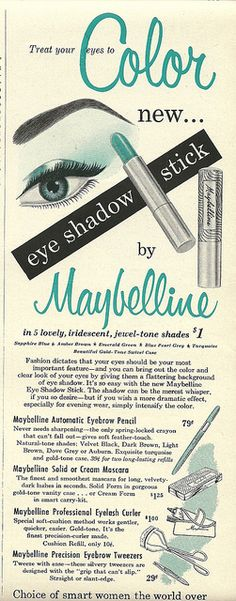 Treat your eyes to new colour. #vintage #1950s #makeup #cosmetics #ads