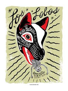 Absolutely stunning art, colour & type. Los Lobos by carloshernandez on Etsy, $60.00