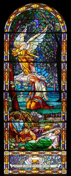 Jesus praying in the garden at Gethsemani Stained Glass Church, Stained Glass Angel, Stained Glass Windows, Graphisches Design, Glass Design, Catholic Art, Religious Art, Leaded Glass, Mosaic Glass