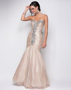 Best 2013 A-line Mermaid Bodice Strapless Ruched Long Champagne Evening/Celebrity/Pageant Dress Blush 9566