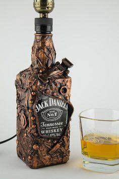 Decorative Bottles : Jack Daniels Bottle lamp Gift for Him Whiskey Bottle lamp -Read More – bottle crafts diy Decorative Bottles : Jack Daniels Bottle lamp Gift for Him Whiskey Bottle lamp - Decor Object Liquor Bottle Crafts, Wine Bottle Art, Diy Bottle, Liquor Bottles, Bottles And Jars, Bottle Lamps, Glass Bottles, Jack Daniels Bottle, Altered Bottles