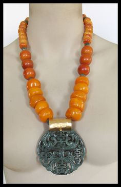 TIBET - Handcarved Jade Pendant - Handmade Tibetan Amber - Jade - Long Dramatic Statement Necklace by sandrawebsterjewelry on Etsy