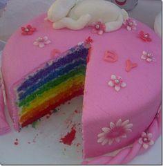 Rainbow unicorn cake, so cute.