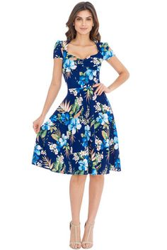 Lottie Floral 50s Style Full Skirt Dress in Blue | Clarence and Alabama