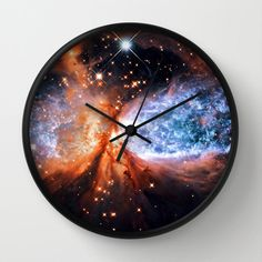Clock, Wall Clock, Galaxy Clock, Astral Glitter Clock, Blue Gold, Space Clock, Home Decor, Galaxy Print Clock, Nebula Clock, Sci Fi Clock