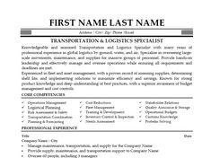 Logistic Manager Resume Resumetemplates101 Resumetemplates On Pinterest