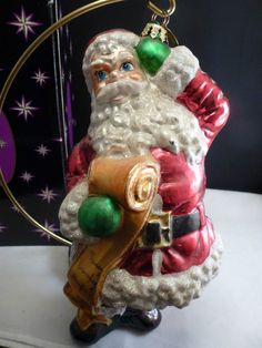 "Christopher Radko SANTA'S LIST LARGE 9"" TALL   Christmas Ornament  GLASS BLOWN"