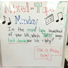 What's it sound like? Wednesday- in the mixed tape soundtrack of your life, what song would best described your day today?