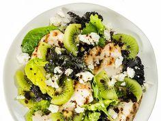 Kiwi, chicken and feta salad recipe Kiwi Recipes, Healthy Recipes, Healthy Cooking, Healthy Eating, Healthy Foods, Banting Recipes, Shake Recipes, 400 Calorie Dinner, 400 Calorie Meals