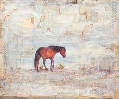 Art by Tana Lopez - horse assateague island mixed media collage