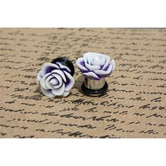 Purple and white flower with matte finish flower plugs for gauged ears... ($19) ❤ liked on Polyvore