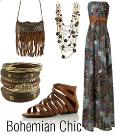 Bohemian Chic -- love the dress and sandals, and if only i could pull off bangles!