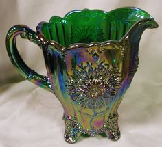 Emerald Green Carnival Glass Dahlia Pattern Full Size Water Pitcher