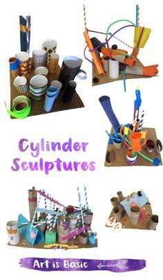 Cylinder Sculptures for Kids – Art is Basic Sculpture Lessons, Sculpture Projects, Sculpture Art, Reggio, Washi Tape, Elementary Art Lesson Plans, Kindergarten Art Projects, Kindergarten Lessons, Steam Art