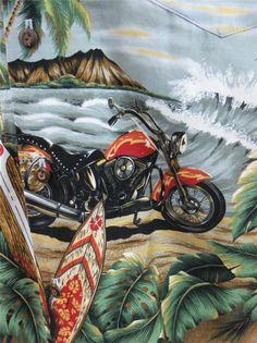 KY's Mens Hawaiian Camp Shirt XL Motorcycles Surfboards Island Beach Ocean Waves