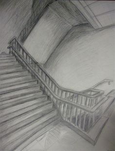 pencil stair drawing | Perspective drawing- stairs by chorsahgryphon