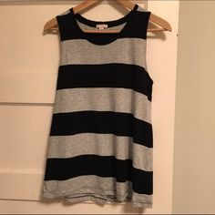 GAP. Black and Gray Stripe Tank Crewneck tank. Deeper arm openings. Stitching down middle of back. Loose fit. Worn a few times GAP Tops Tank Tops