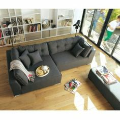 Left corner sofa Coming ALINEA with bench Canapé Design, House Design, Interior Design, Canapé Angle Convertible, Home Salon, L Shaped Sofa, Corner Sofa, Living Room Sofa, Sweet Home