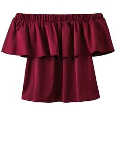 $14.99 Off The Shoulder Flouncing Blouse - WINE RED M