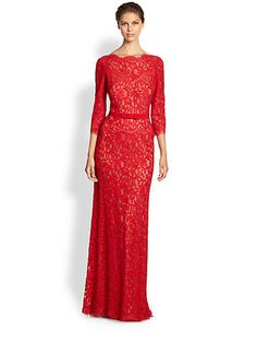Red Lace Gown Holiday Look For Mother Of The Bride