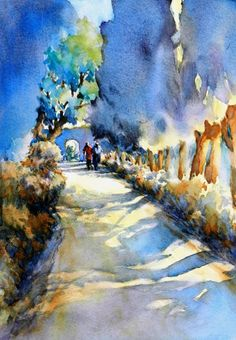 """Between the Shadows and the Light, No. 2"", is an original watercolor 11"" X 15"" on 300-pound Kilimanjaro paper using DaVinci, American Journey and Daniel Smith paints.  The painting explores the picturesque walkways in the Provencal village of Lourmarin, with the setting sun transforming everything with warm light and shadows."