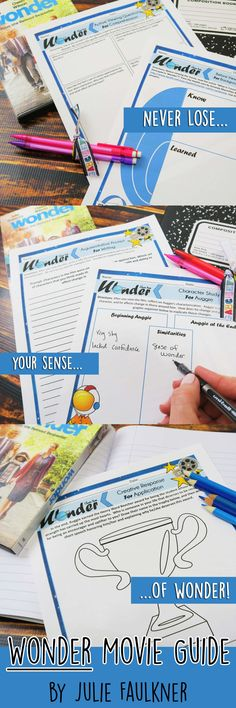 Wonder Movie Viewing Guide, Printable and Digital This pack of activities is an excellent way to add some rigor to your viewing of 2017 Wonder movie. It is not a book to film comparison guide. These activities are tailored specifically for this movie! You may use one or all of the enclosed NO PREP activities to focus your studies, and they would work with the novel as well. Add rigor to your movie-viewing experience with this low-prep, highly-engaging Wonder Movie Viewing Guide!