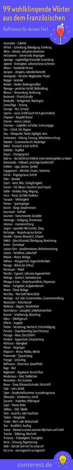 Mon Dieu, Englisches gibt es fürwahr genug im Internet. Auch und gerade in deutschsprachigen Texten. Wie wäre es mit etwas Abwechslung im sprachlichen Trott? Zum Beispiel mit 99 wohlklingenden #Wörtern, die ursprünglich aus dem Französischen zu uns kamen?