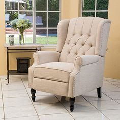 The Elizabeth Recliner with tufted back will make a statement in any room of your home. The shape and height of the back command attention while the armrests and cushioned seat allow for comfort. Perfect for entertaining or relaxing while offering an intelligent design touch to your... more details available at https://furniture.bestselleroutlets.com/living-room-furniture/chairs/product-review-for-elizabeth-light-beige-tufted-fabric-arm-chair-recliner/