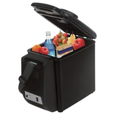 Portable dual-purpose cooler and warmer that plugs into a 12V power source to keep food warm or beverages and other items cold