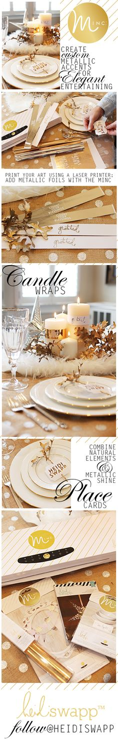 add metallic foil touches in minutes to holiday entertaining using the Heidi Swapp Minc Foil Applicator Machine: Craft Foil, Rome Antique, Deco Foil, Heidi Swapp, Handmade Books, Card Tutorials, Merry And Bright, Fun Projects, Illustration