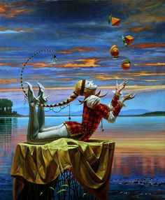 "Michael Cheval,  Comparative Analogy II  36"" x 30"", oil on canvas  36"" x 30"", limited edition of 100"