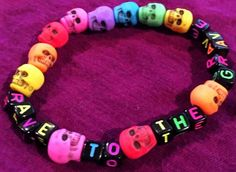 Cute Kandi Bracelet -Rave to the Grave Kandi Bracelet by KandiKweens on Etsy