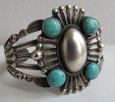 Native American Coin Silver IH Navajo 4 turquoise Fred Harvey fancy bracelet