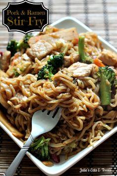 Pork & Ramen Stir-Fry ~ Ramen Noodles add a fun twist on normal Stir-Fry! I use stir-fry blend & steak instead Stir Fry Recipes, Pork Chop Recipes, Cooking Recipes, Noodle Recipes, Pork Recipe For Ramen, Ramen Recipes, Asian Recipes, New Recipes, Dinner Recipes