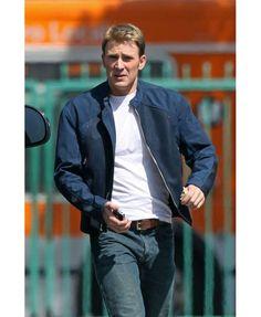 The Winter Soldier Captain America Chris Evans Stylish Blue Jacket
