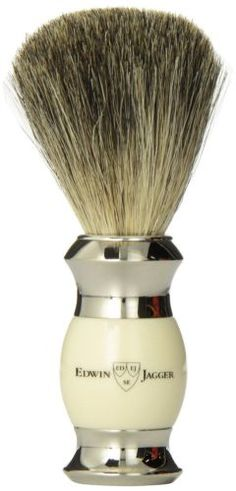 Edwin #jagger pure badger shaving #brush - imitation ivory handle with #nickel pl,  View more on the LINK: http://www.zeppy.io/product/gb/2/141842939156/
