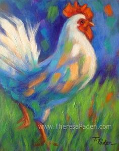 """Daily Paintworks - """"Two Roosters Flew the Coop, Pa..."""" by Theresa Paden"""