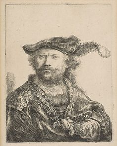 Rembrandt (Rembrandt van Rijn) (Dutch, 1606–1669). Self-Portrait in a Velvet Cap with Plume, 1638.
