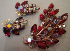 Vintage Brooch Earrings Set in Red and AB Rhinestones Christmas Holiday Gifts by EyeCandyAntiques, $59.00