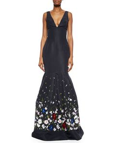 Floral-Embroidered Faille Trumpet Gown by Oscar de la Renta at Bergdorf Goodman.