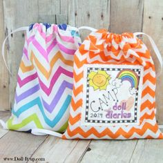 Sew a drawstring backpack for dolls- free  pattern included!