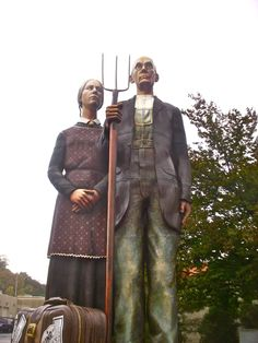 Dubuque, Iowa - Grant Wood sculpture We saw it in person Dubuque Iowa, Grant Wood, Tri State Area, Travel 2017, American Gothic, Roadside Attractions, Road Trippin, Wood Sculpture, Knoxville Iowa