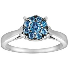 Sterling Silver 1/4-ct. T.W. Blue Diamond Ring ($184) ❤ liked on Polyvore featuring jewelry, rings, blue, diamond rings, sterling silver jewelry, sterling silver jewellery, round diamond ring and blue diamond jewelry