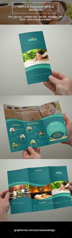 Beauty Spa Trifold Brochure Corporate Brochure Template by astanadesign. Spa Brochure, Medical Brochure, Brochure Layout, Corporate Brochure, Brochure Template, Brochure Trifold, Brochures, Flyer Template, Corporate Design