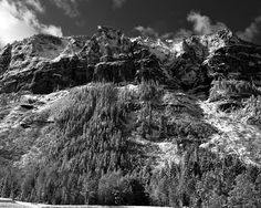 Snow covered mountains Black and White B&W Colorado by mistyphoto