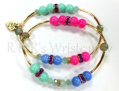 Beaded Bracelet Gold Bar Bracelet by RandRsWristCandy on Etsy