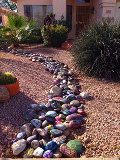 painted rocks to edge a garden.. something to do with lil monkey :)