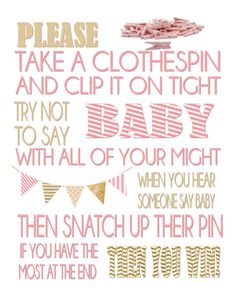 Clothespin Game / Baby Shower Game / Don't Say Baby!