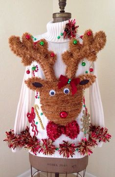 DIY or just Buy it! Ugly Christmas sweater dress! A personal favorite from my Etsy shop https://www.etsy.com/listing/259021075/light-up-ugly-christmas-sweater-dress