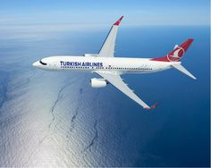 Turkish Airlines over sea